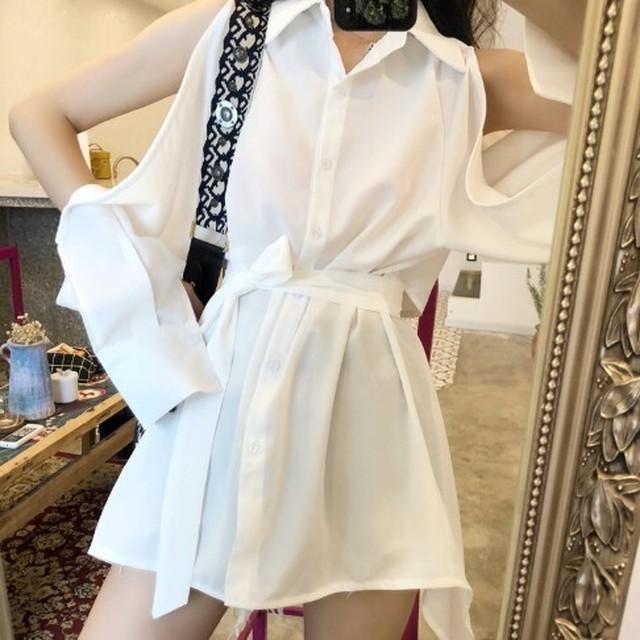 【ワンピース】ファッション不規則透かし彫りシャツワンピース24756557