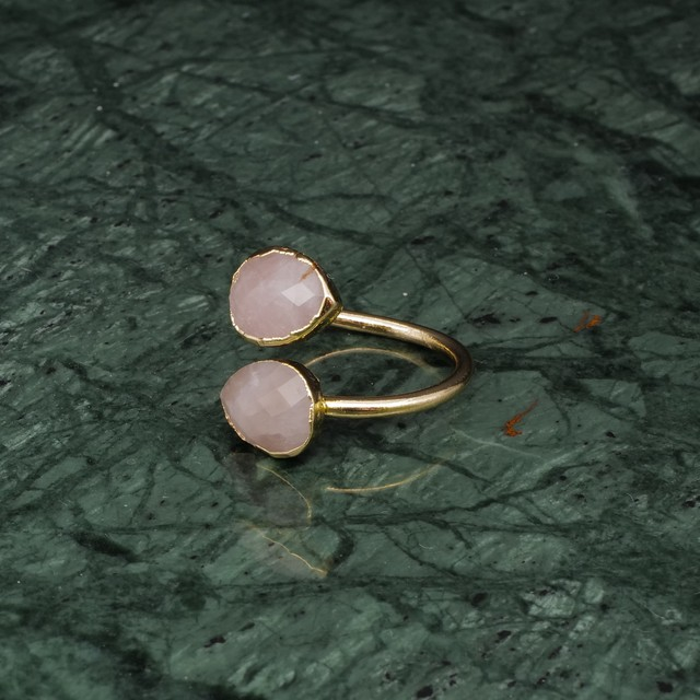 DOUBLE STONE OPEN RING GOLD 025