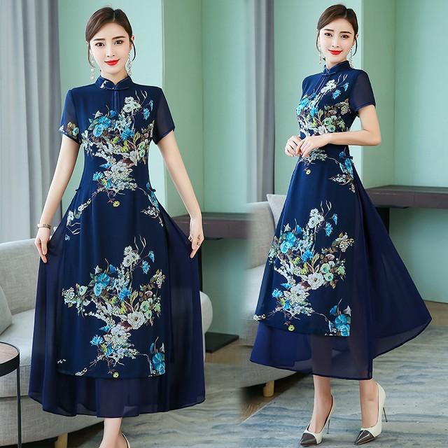 チャイナ風ワンピース アオザイ ドレス チャイナ風服 中華服 改良唐装 改良漢服 スタンドネック 半袖 ロング丈 大きいサイズ S M L LL 3L 4L 5L 普段着 ブルー 青い