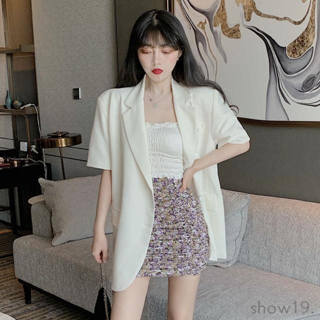 【アウター】韓国系合わせやすい気質溢れる 無地半袖 INS風 スーツジャケット42154287
