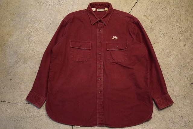 USED 80s L.L.Bean Chamois cross shirt -18 S0699