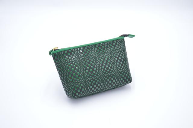 プレミアムカラー印傳 GFポーチ 緑/緑 変わり市松柄