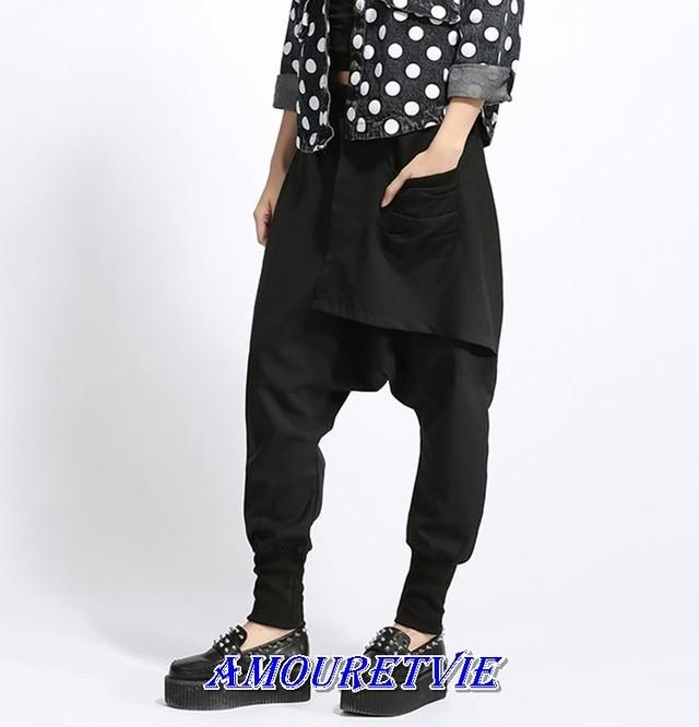 サルエルパンツ カジュアルパンツ ガウチョ レディース メンズ ユニセックス 黒 ブラック オルチャン 韓国ファッション モード系 258