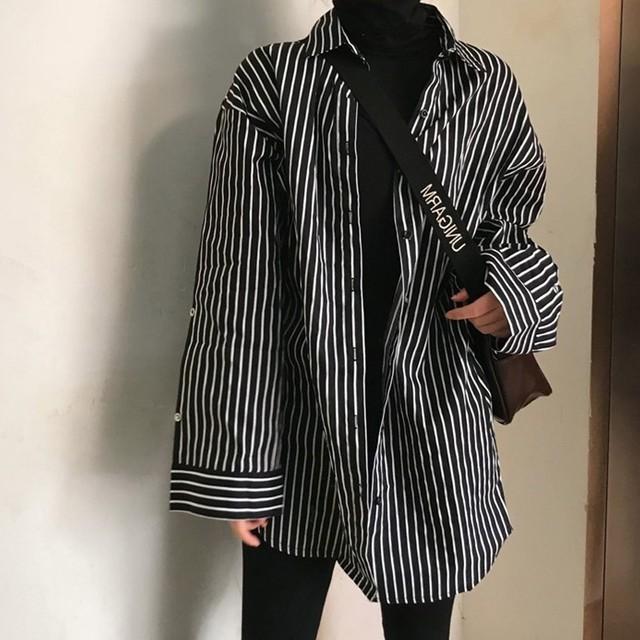 【tops】レトロ長袖ストライプ柄POLOネック合わせやすい着痩せシャツ