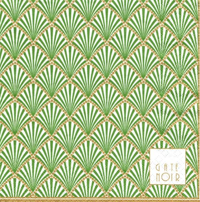 北欧【GreenGate】バラ売り1枚 ランチサイズ ペーパーナプキン GateNoir Fan グリーン×パールゴールド