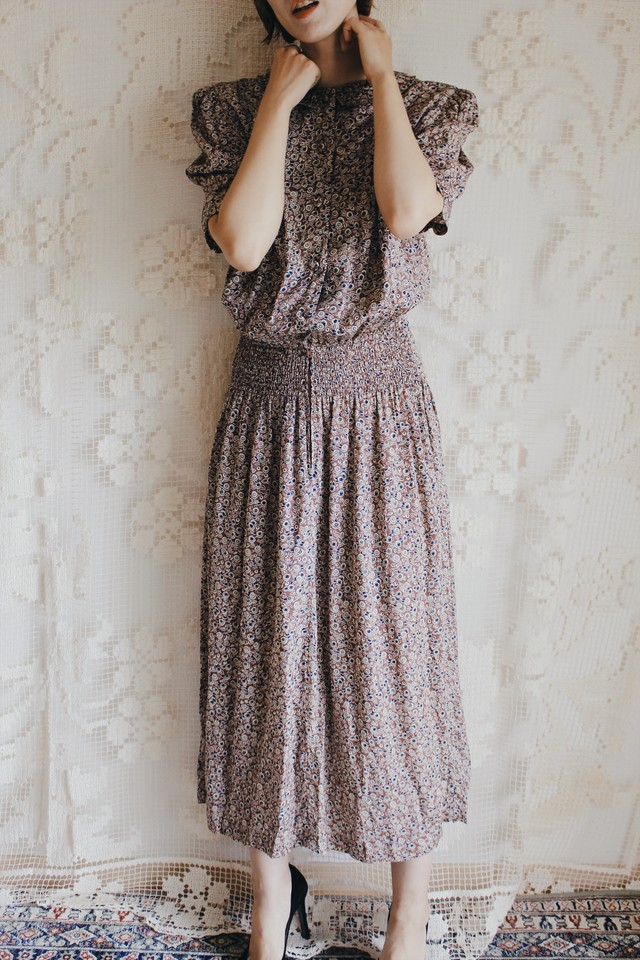 1980s Printed Long Dress