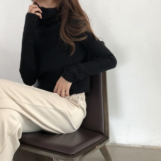 ハイネック リブニット セーター【0743】