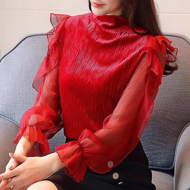 スリムブラウス&シャツレース ルーズスタンドカラーシャツ 3色 T83011L