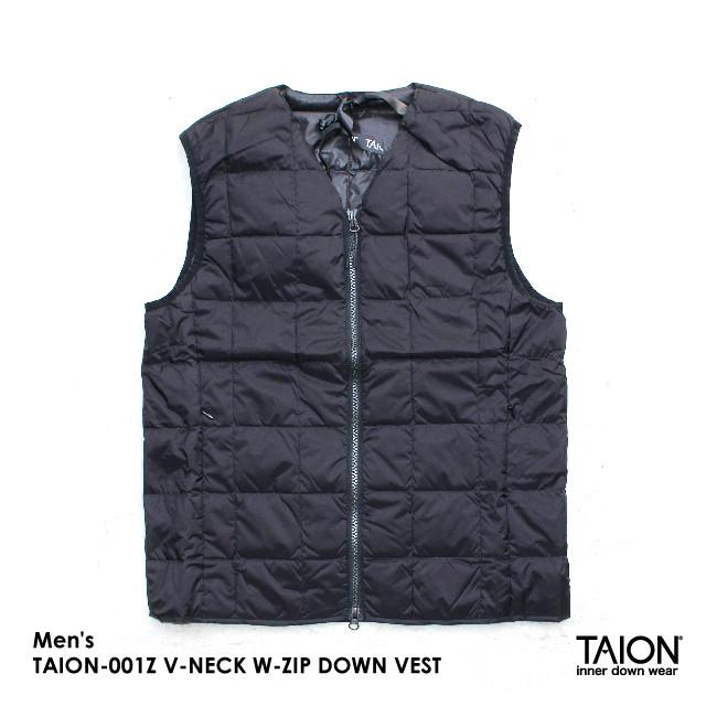 Men's / TAION-001Z V-NECK W-ZIP DOWN VEST / BLACK