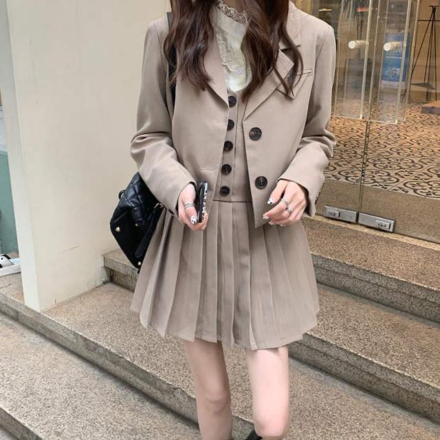 スクールガーリーセットアップ♡ジャケット+プリーツスカート+ブラウス  A0389
