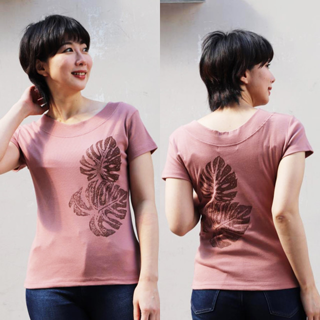 APPLE HOUSE/ZA TOKYO  100%made in Japan. ソフトフィットでシルエットが綺麗なフレンチ袖、両丸襟Tシャツ(ダブルモンステラ) No.134290