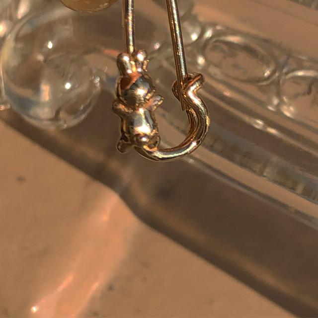 うさぎ pin earring K10YG 18G #LJ18002P     うさぎ安全ピンピアス/K10YG