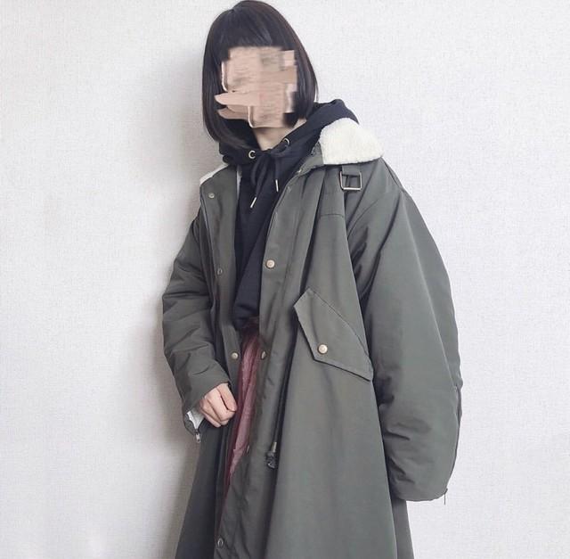 【即納】【送料無料】 裏地ボアであったか♡ オーバーサイズ ロング ミリタリー モッズ コート アウター