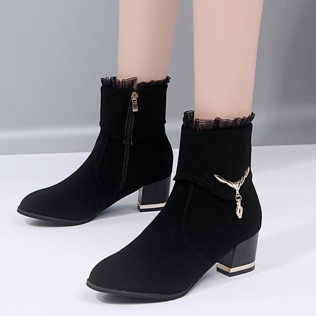 【shoes】切り替えレース雰囲気抜群ブーツ