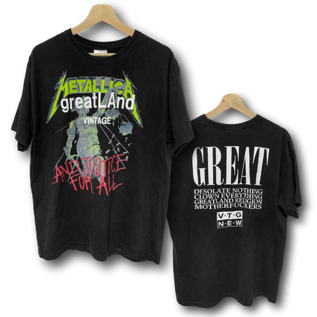 greatLAnd VINTAGE METALLICA AND JUSTICE FOR ALL TEE BLACK LARGE