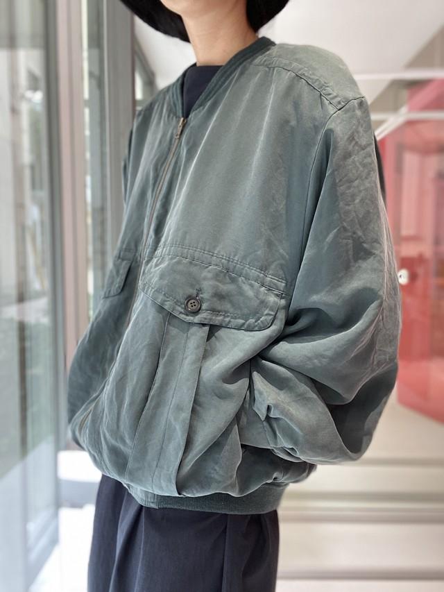 90s green silk  blouson
