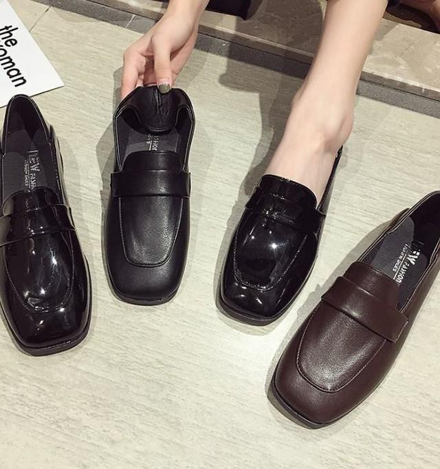 【送料無料】 レトロシューズ♡ フェイクレザー ローファー 靴 スクエアトゥ シンプル