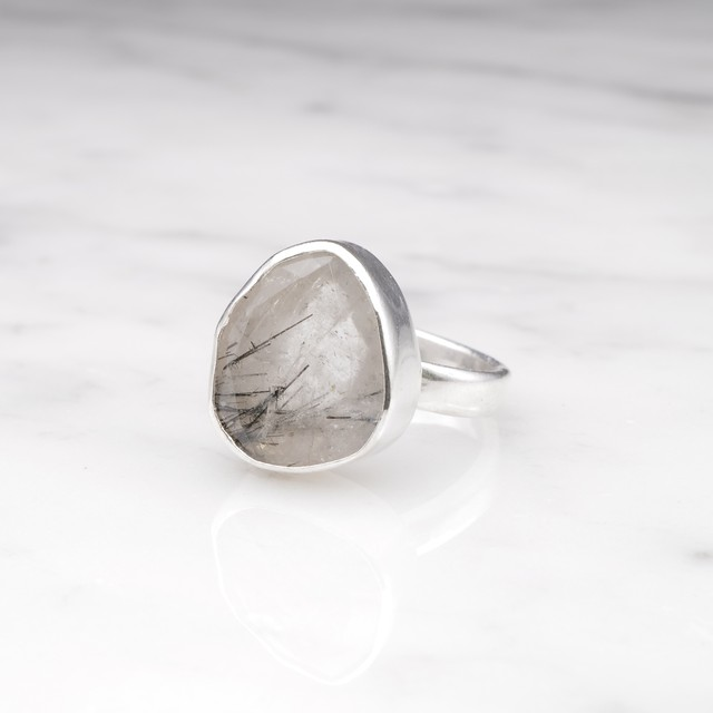 SINGLE BIG STONE RING SILVER 010