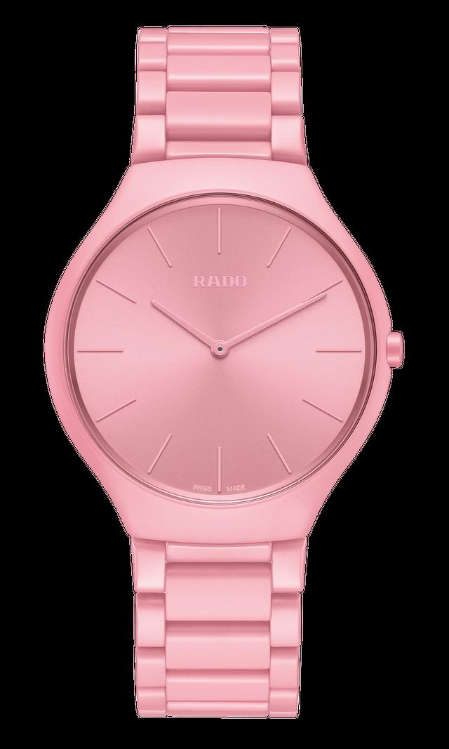 【RADO ラドー】True Thinline Les Couleurs™ Le Corbusier  Luminous pink 4320C/ シンライン  ル・コルビュジエ(ピンク) スイスメイド腕時計