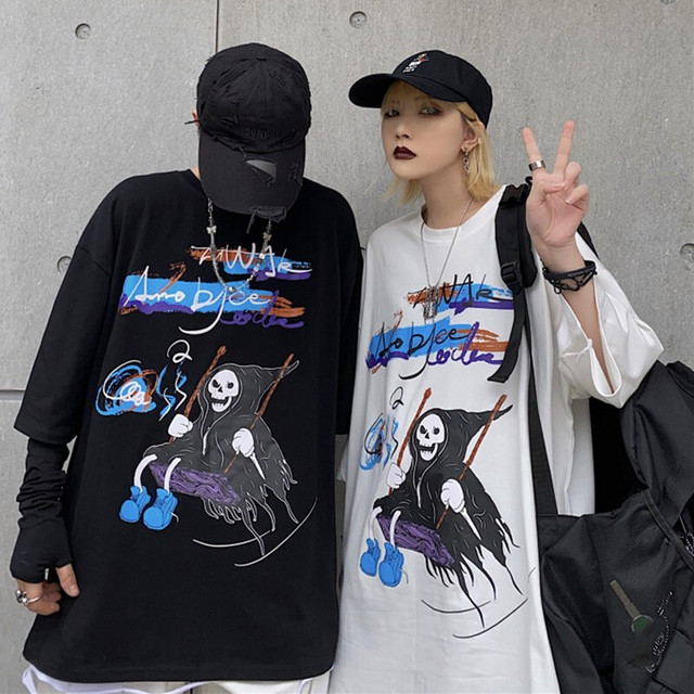 【トップス】ストリート系暗黒系骸骨魔法使い図柄プリントペアルックTシャツ31542212