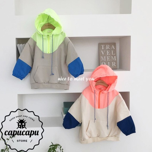 [sold out]  neon hoodie 2Colors ネオン配色 フード パーカー