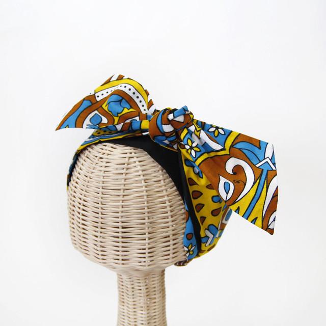 カンガのリボンターバン|幅広ボリューム / アフリカ布 / アレンジ