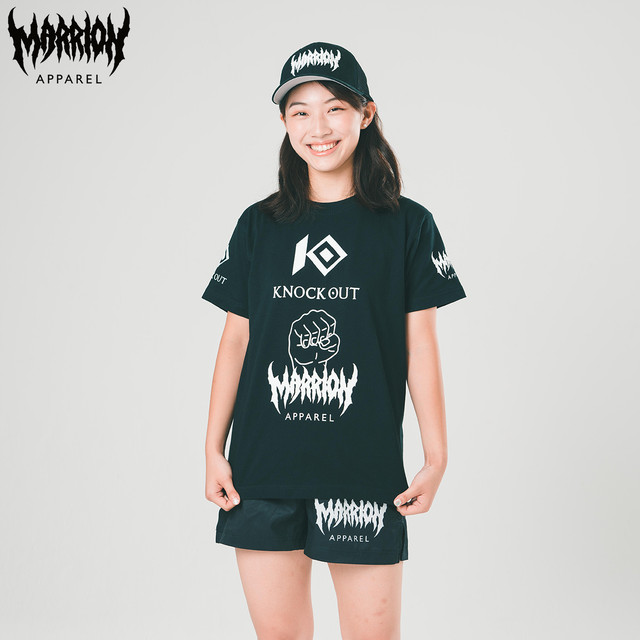 KNOCKOUT×MARRIONAPPAREL コラボ Tee (Black×White)