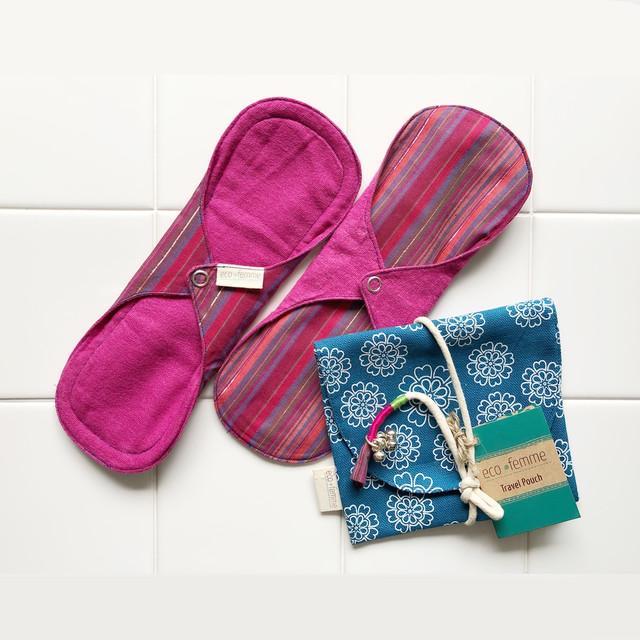 トラベルポーチ付き普通の日用(防水あり)肌面:オーガニック染料使用2枚セット/1 Travel Pouch and 2 Day Pads - Vibrant Organic