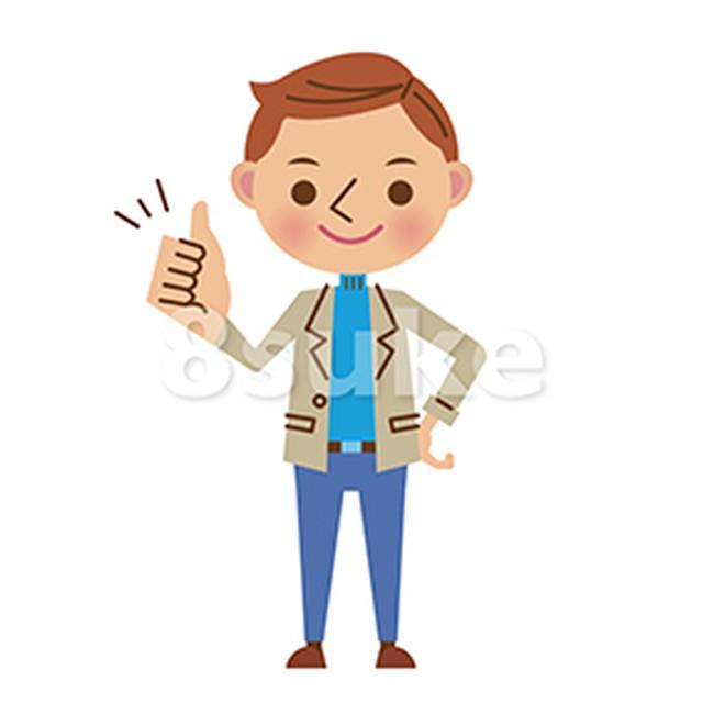イラスト素材:グッドサインをする若い男性(ベクター・JPG)
