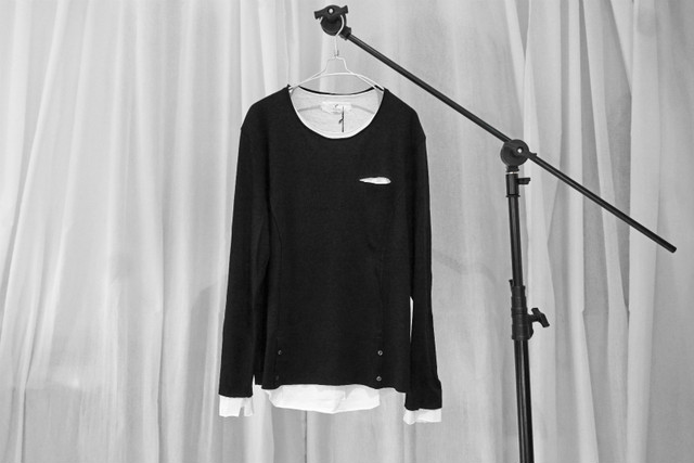 ASKYY / SIDE BUTTON LAYERED KNIT / BLK
