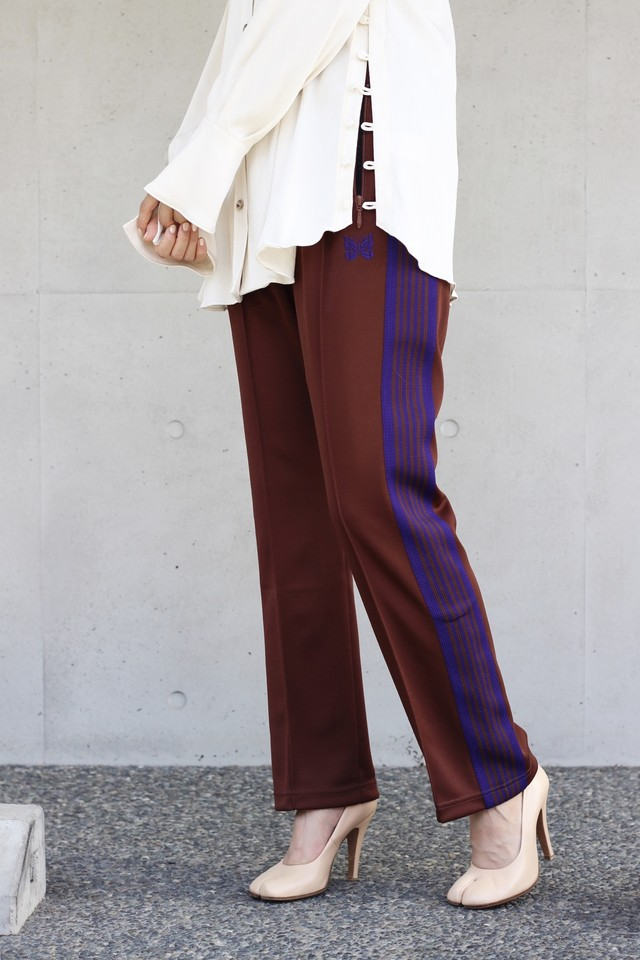 【Needles】narrow track pant poly smooth-brown