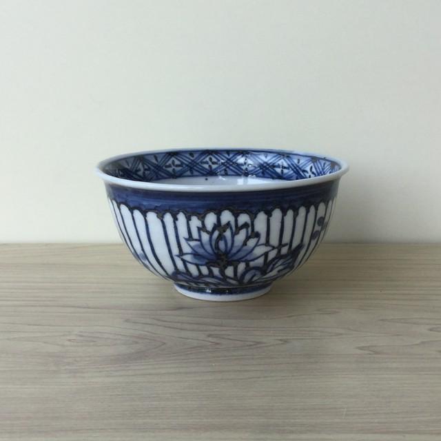 【波佐見焼】古染付草花  手作り飯碗