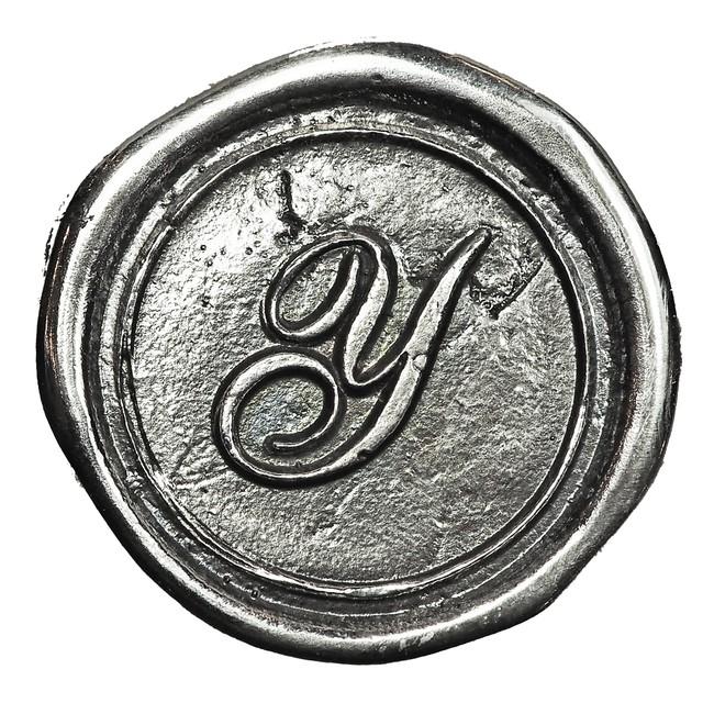 シーリングイニシャル LL 〈Y〉 シルバー / コンチョボタン