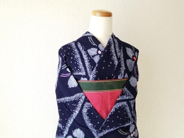 30%オフ!【H-65】 丈148.5 裄65 藍染  花柄 古典的  絞り 浴衣 リサイクル