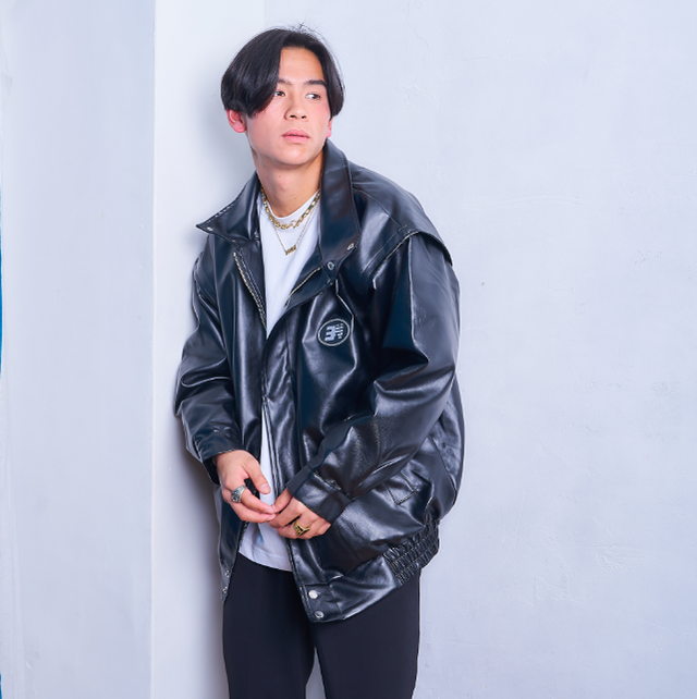 【人気NO.12】Loose silhouette faux leather jacket LD0163