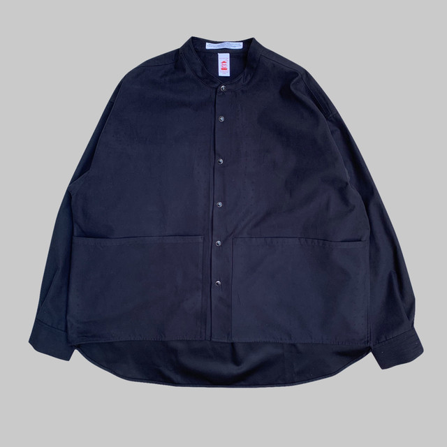 SUEDE LIKE BAND COLLAR SHIRT -BLACK-