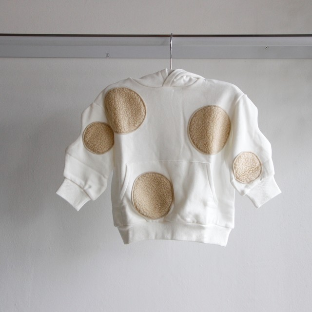 《frankygrow 2019AW》UNEVEN BOA DOTS FOODED SWEATSHIRT / white × beige × dots / LL