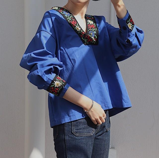 Tyrolean blouse (blue)