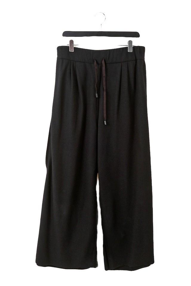 ウール: ワイドパンツ WIDE PANTS 黒 235068 ミハイルギニスアオヤマ[MADE IN JAPAN][税/送料込み]