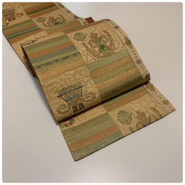 ★ 美品 袋帯 面白帯 ふくれ織 未使用 キラキラ ★ i02