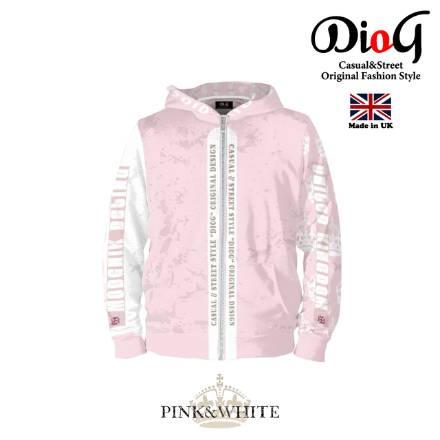 DioG SERIES ORIGINAL DESIGN カジュアルジップパーカー (PINK&WHITE)(MADE IN UK)