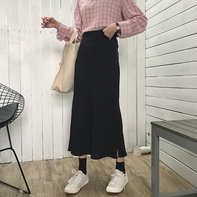 【ボトムス】ストリート系スリットハイウエストAラインスカート24328389
