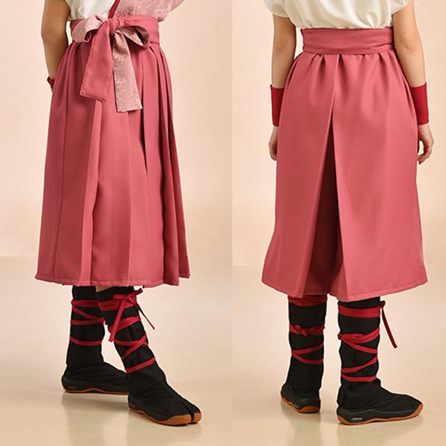 袴風パンツ ショート丈 ピンク ポリエステル【日本製】太鼓女子 よさこい衣装 太鼓衣装 飲食店ユニフォーム