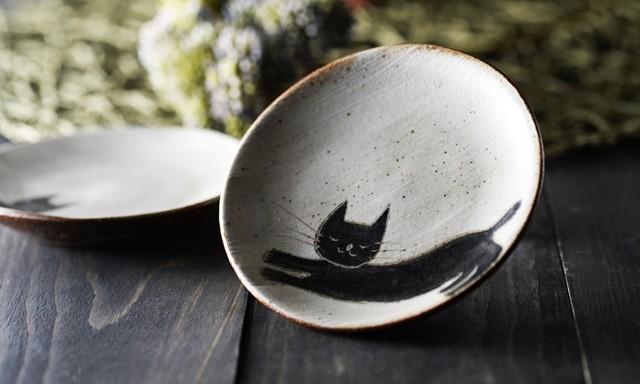 丸平皿|会津本郷焼|猫