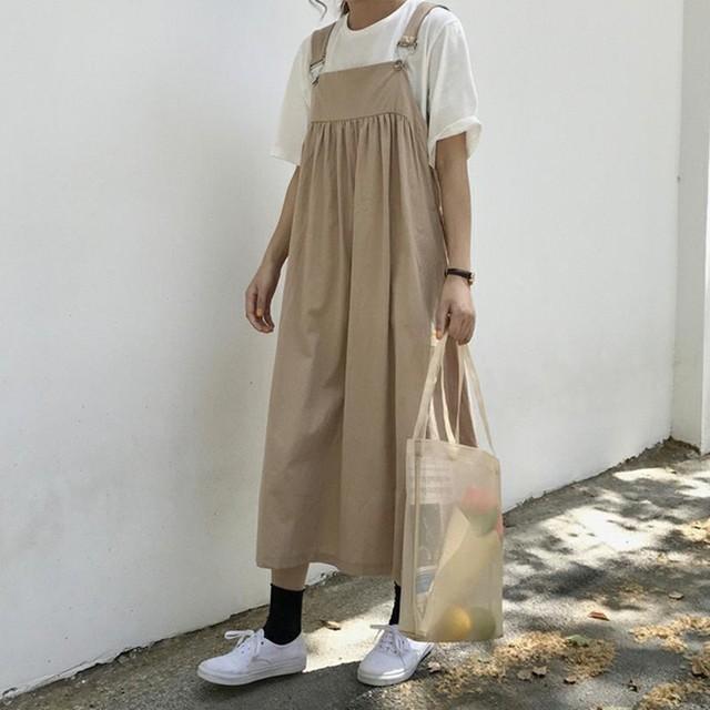 【set】超お得!シンプル合わせやすいノースリーブワンピース+無地半袖Tシャツ2点セット