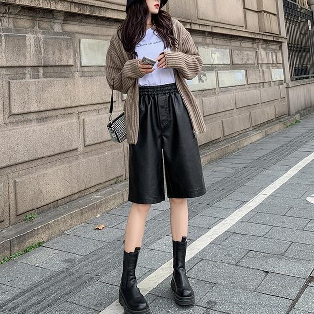 【ボトムス】5分丈ファッション無地PU素材カジュアルショート丈パンツ44184624