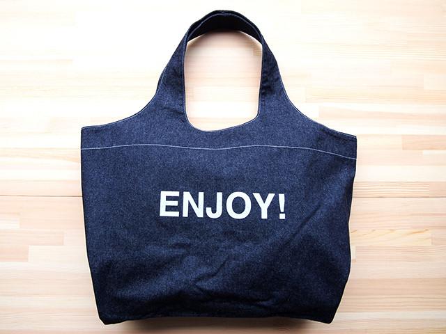 """ショッピングショルダーバッグ(TOTE BAG DENIM """"ENJOY!"""")"""