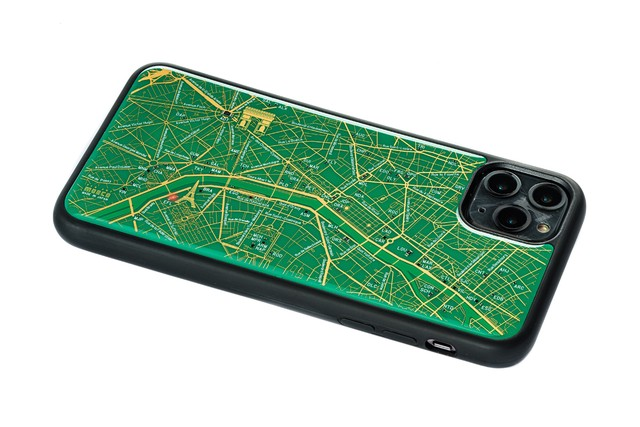 FLASH Paris回路地図 iPhone 11 ProMax ケース  緑【東京回路線図A5クリアファイルをプレゼント】