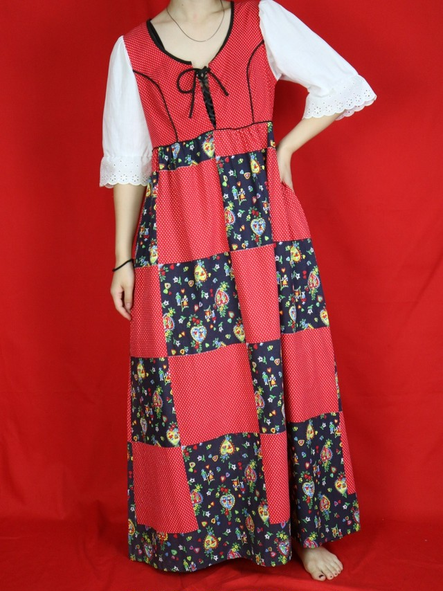 70s patchwork design dress 【0416】