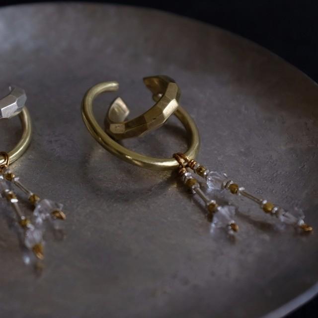 herkimer diamond ear cuff / L (brass)